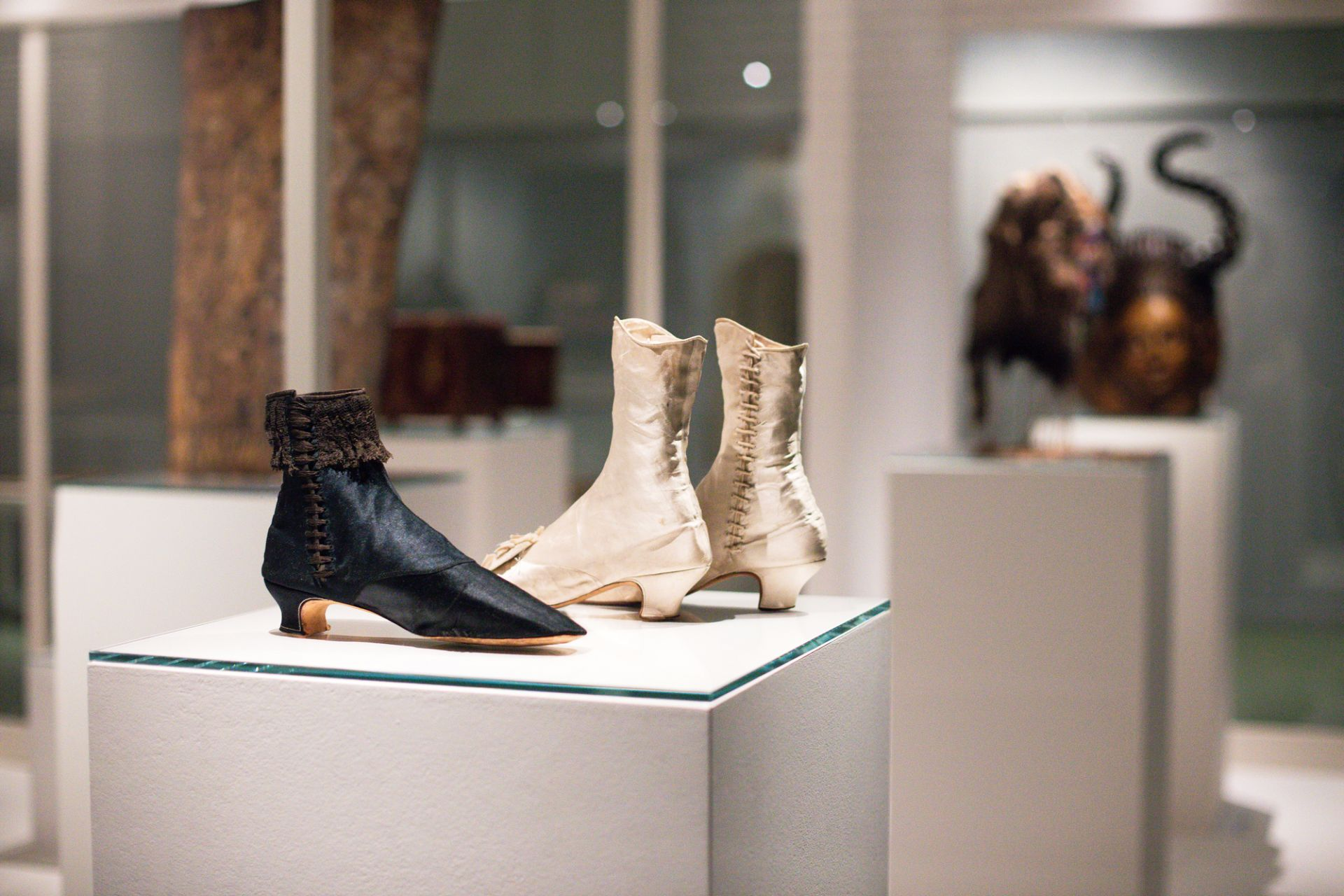 Empress Elisabeth's boots, Austria, 1865 and Princess Pauline von Metternich's bridal boots, France, approx. 1860