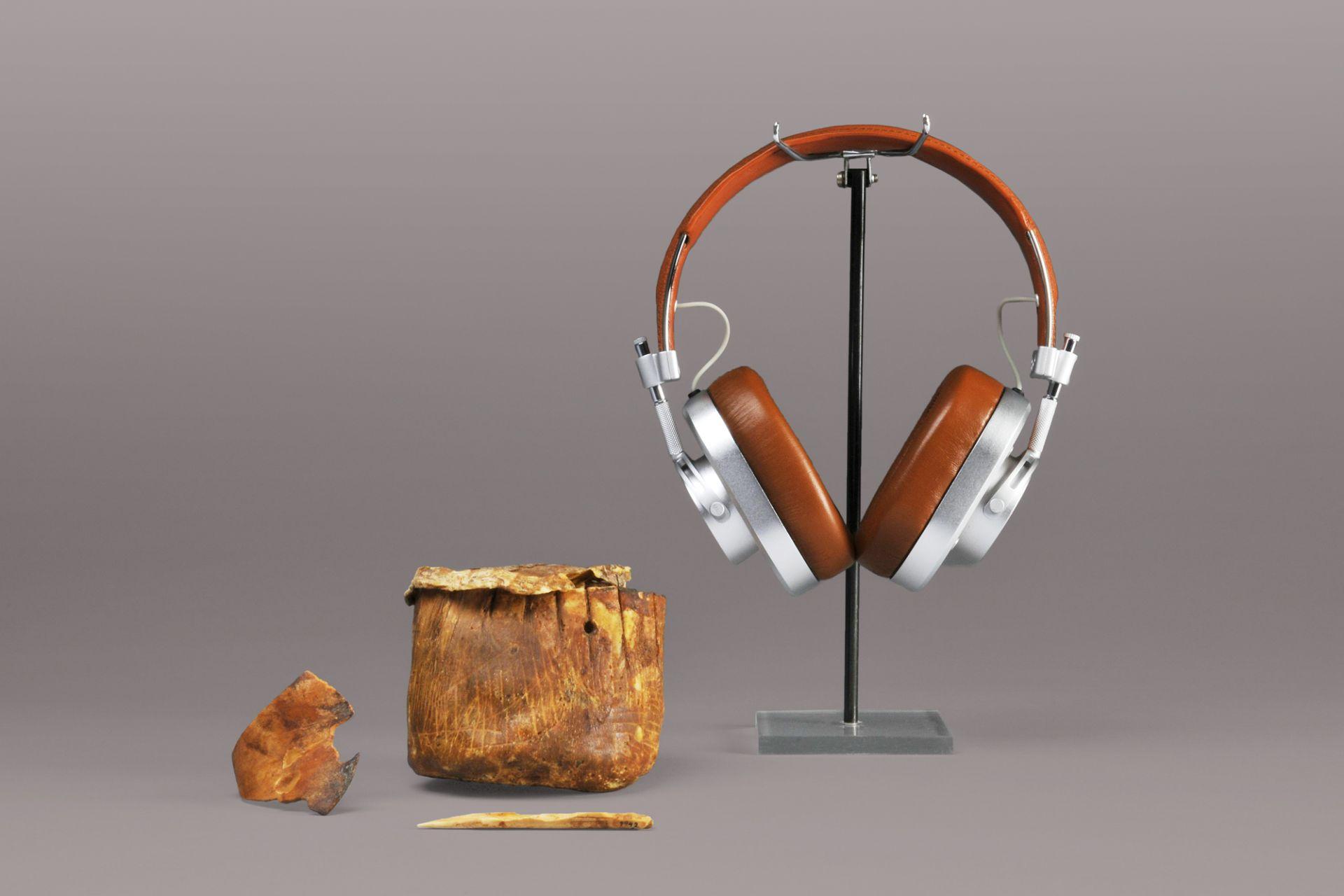 Rawhide vessel, Egypt, 4th millennium BCE and headphones, Master & Dynamic, New York, 2014