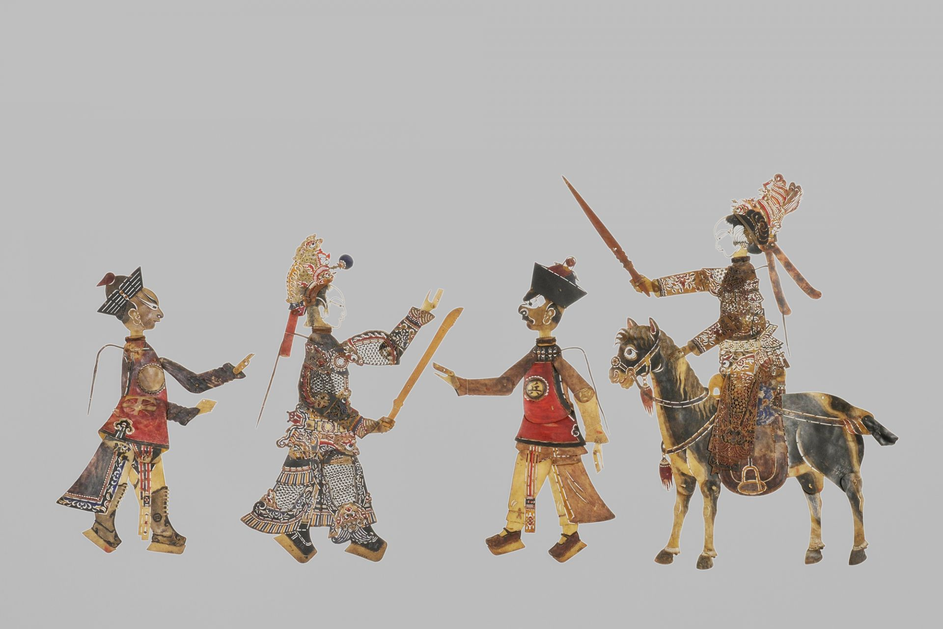 """Shadow play set """"The Robbery in the Mountains, or: The Forced Marriage"""", Sichuan, China, 18th century (Qianlong Dynasty)"""